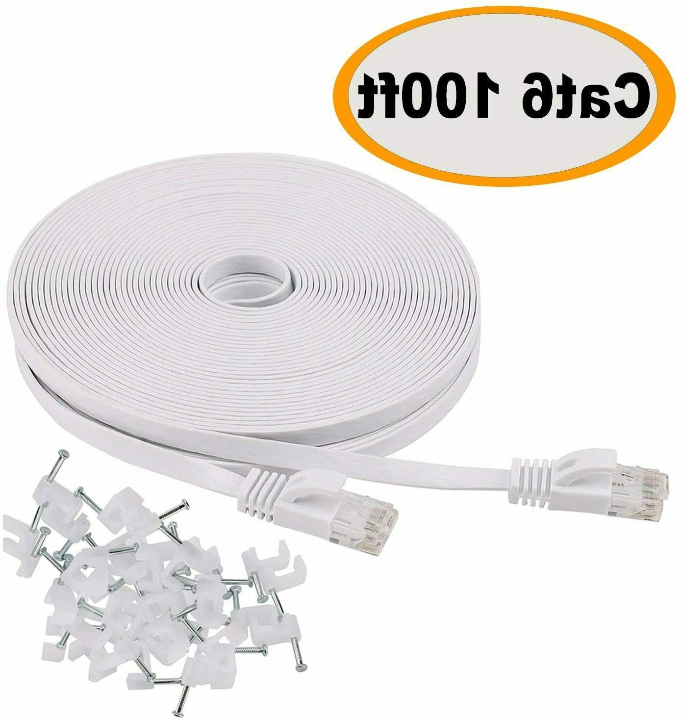 Cat 6 Ethernet Cable 100 ft Flat White with clips & Rj45 Con