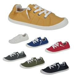New Women Canvas Shoes Lace Up Slip On Casual Comfy Flat Fas