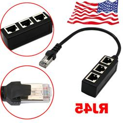 RJ45 Ethernet Cable Adapter Splitter  1Male To 3Female Port